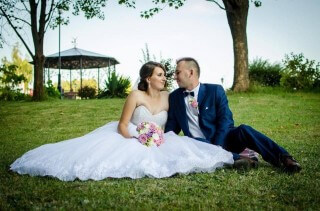 Mrs. Karolina and her husband - Lorange wedding dress